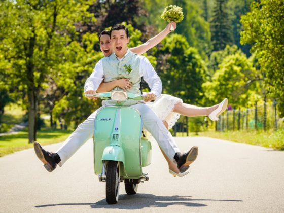 Hochzeitsfotograf Allgaeu Brautpaar Roller Vespa